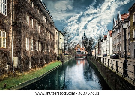 canal and old historic buildings  Gdansk - stock photo