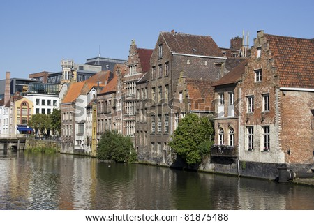 Canal and old houses in Ghent, Belgium