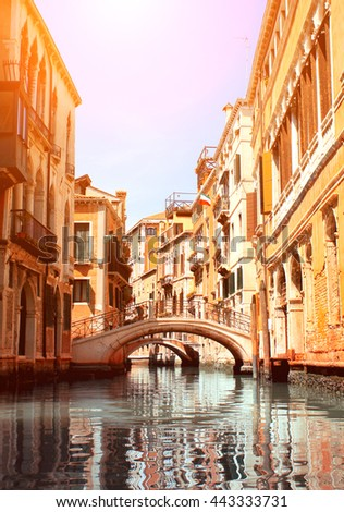 Canal and old houses in Venice, Italy. Summer day - stock photo