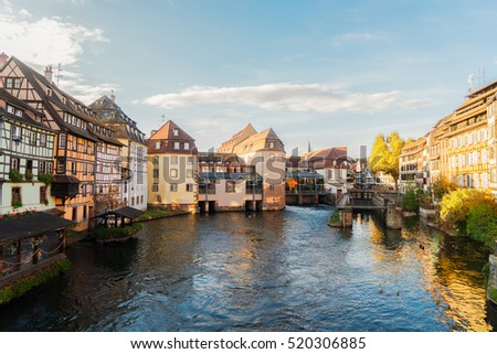 canal and old houses of Petit France medieval district of Strasbourg, France
