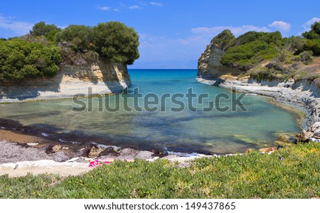 Canal D'Amour beach at Sidari, Corfu island in Greece - stock photo