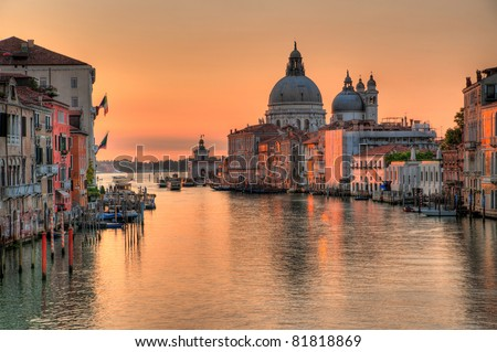 Canal grande in venice - Santa Maria Della Salute, Church of Health in dusk twilight at Grand canal Venice Italy - stock photo