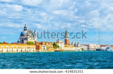Canal Grande with Basilica di Santa Maria della Salute in Venice, Italy - stock photo