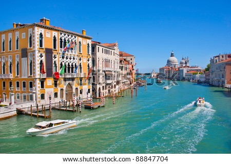 Canal Grande with Basilica Santa Maria della Salute in the background as seen from Ponte dell'Accademia, Venice, Italy - stock photo