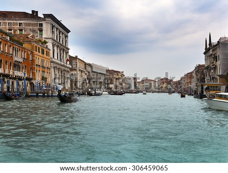 Canal Grande with boats, Venice, Italy