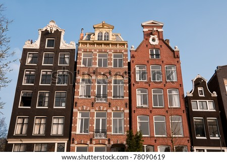 Canal Houses, Amsterdam, Holland - stock photo
