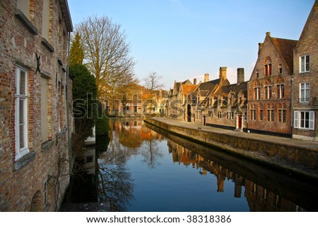 Canal in Bruges, Belgium - stock photo