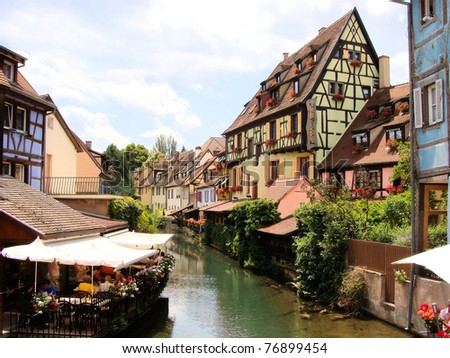 Canal in Petite Venice neighborhood of Colmar, France - stock photo