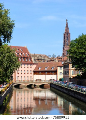 Canal in Strasbourg, France - stock photo