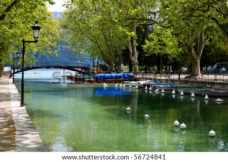 Canal inteh annecy city in the french Alps close to the lake - stock photo