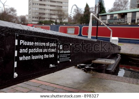 Canal lock in Birmingham, England - stock photo