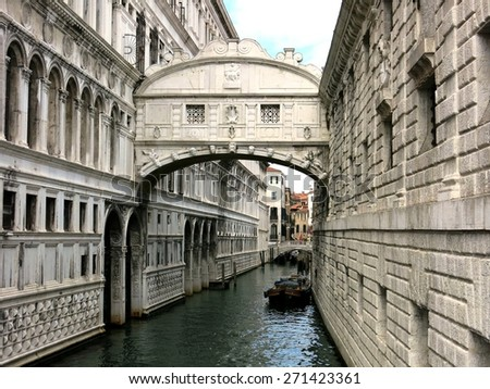 Canal palace bridge landmark Venezia gothic architecture Venice, Italy. - stock photo