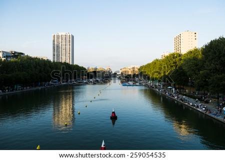 Canal Saint Martin, Paris, Ile de France, France - stock photo