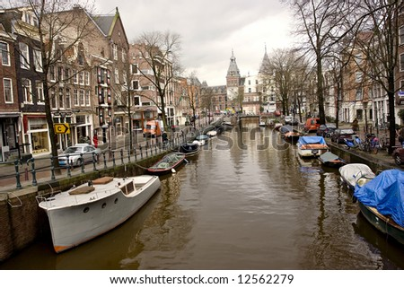 Canal Street in Amsterdam on an early afternoon - stock photo