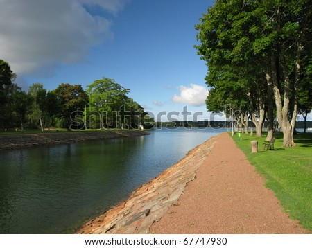 Canal to lake - stock photo