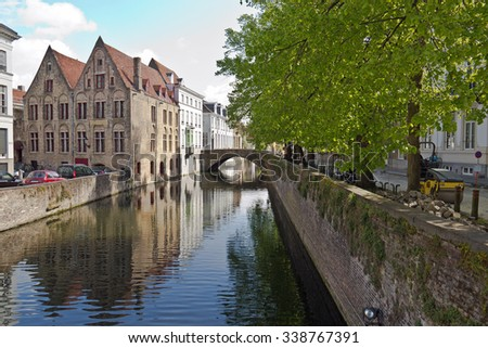 Canal waterway in the idyllic city of Bruges
