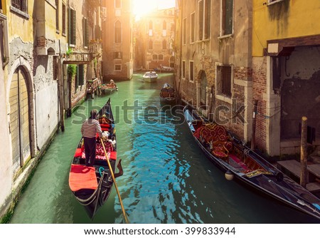 stock photo canal with gondolas in venice italy 399833944 - Каталог — Фотообои «Венеция»