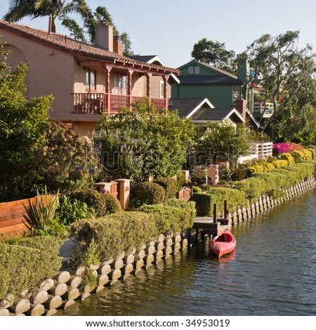 Canal with Houses at Venice Beach, California. - stock photo
