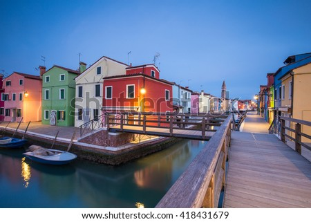Canals in Burano, Italy - stock photo
