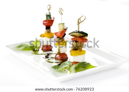 canapés, vegetables, cheese, tomatoes, eggplant, restaurant, cucumbers, Snacks - stock photo