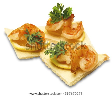 Appetizer canape shrimp cheese dill on stock photo for Canape equipment