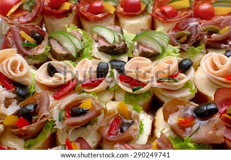 canape for a self service buffet - stock photo