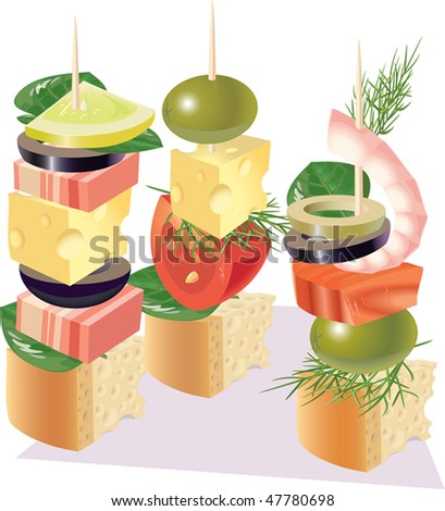 Canape from a various foodstuff. - stock photo