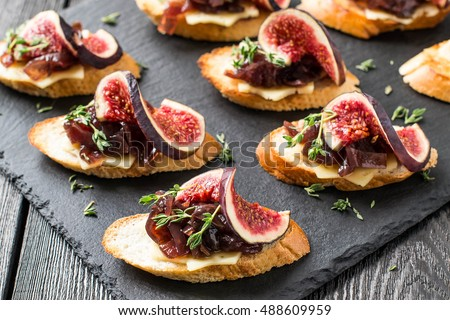 Crostini stock images royalty free images vectors for Canape hors d oeuvres difference