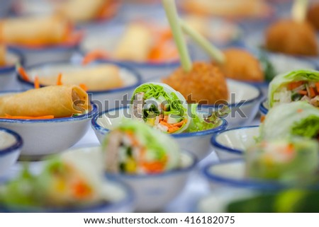 canape set up for wellcome party in wedding ceramony. - stock photo