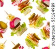 Canape snacks macro shot seamless wallpaper background - stock photo