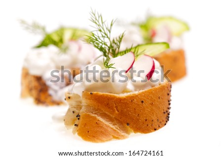 Canape with cottage cheese, radish, cucumber and dill - stock photo