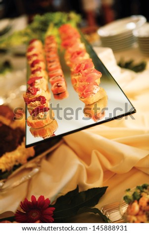 canapes on a tray - stock photo