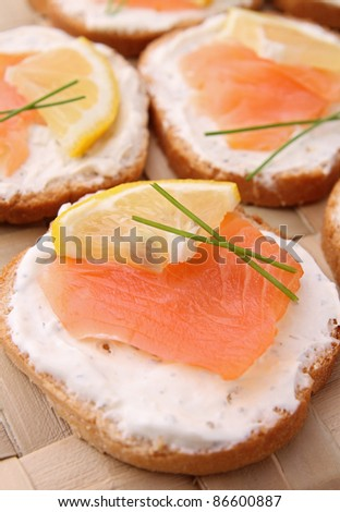 canapes, salmon and cheese