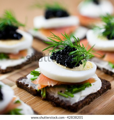 Canapes salmon caviar stock photo 42838201 shutterstock for Canape with caviar