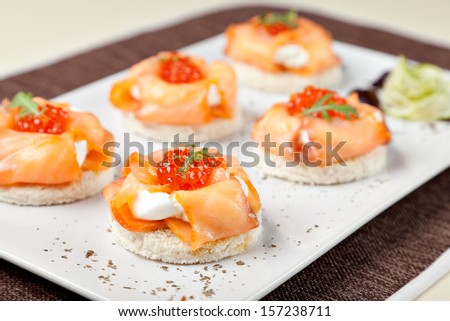 Canapes with smoked salmon and cream cheese