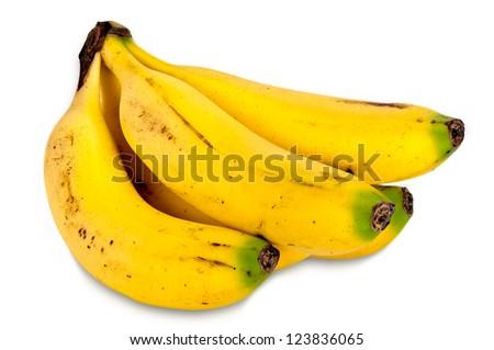 Canarian bananas isolated on white background - stock photo