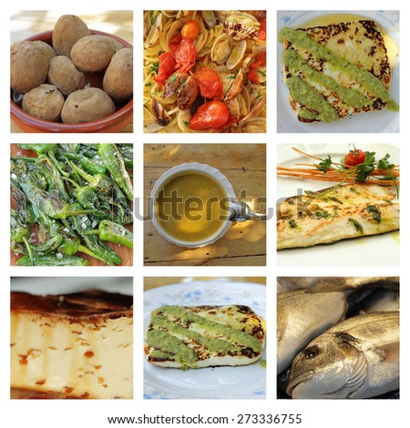 canarian cuisine collage - stock photo