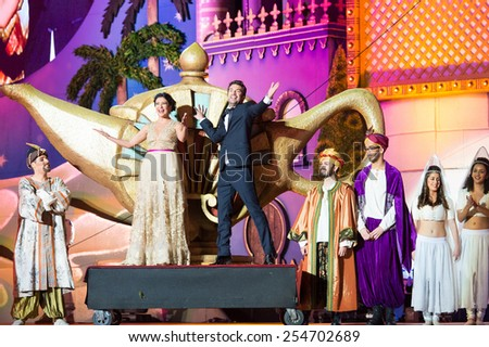 CANARY ISLAND, SPAIN - FEBRUARY 20, 2015: Actors Yanely Hernandez (l) and Arturo Valls (r) tv hosts during city of Las Palmas carnival One Thousand and One Nights opening show of Drag Queen Gala. - stock photo