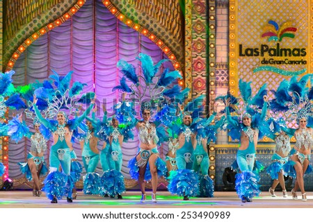 CANARY ISLAND, SPAIN - FEBRUARY 13, 2015: Baracoa who got 2nd premie during this year carnival performing onstage during city of Las Palmas carnival One Thousand and One Nights Queens Gala show. - stock photo