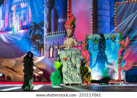 CANARY ISLAND, SPAIN - FEBRUARY 20, 2015: Drag Eiko as mermaid with costume from designer Jorge Perez performing onstage during city of Las Palmas carnival Drag Queen Gala. - stock photo