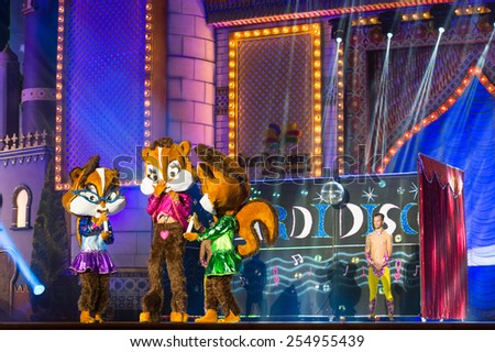 CANARY ISLAND, SPAIN - FEBRUARY 20, 2015: Drag Ziben (m) and unidentified  assistants dressed as teddybears performing onstage during city of Las Palmas carnival Drag Queen Gala. - stock photo