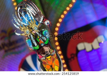 CANARY ISLAND, SPAIN - FEBRUARY 17, 2015: Idaira Bujeda Molina onstage during city of Las Palmas carnival One Thousand and One Nights Body Painting Contest. - stock photo