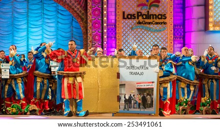 CANARY ISLAND, SPAIN - FEBRUARY 13, 2015: Los Leganosos performing onstage during city of Las Palmas carnival One Thousand and One Nights Queens Gala show. - stock photo