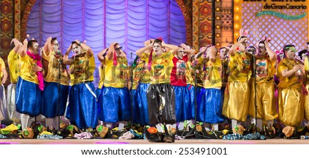 CANARY ISLAND, SPAIN - FEBRUARY 13, 2015: Los nietos de Sary Manchez performing onstage during city of Las Palmas carnival One Thousand and One Nights Queens Gala show. - stock photo