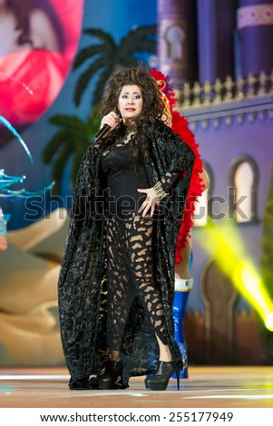 CANARY ISLAND, SPAIN - FEBRUARY 20, 2015: Pepa Charro from Madrid know as The Earthquake of Alcorcon onstage during city of Las Palmas carnival One Thousand and One Nights Drag Queen Gala. - stock photo
