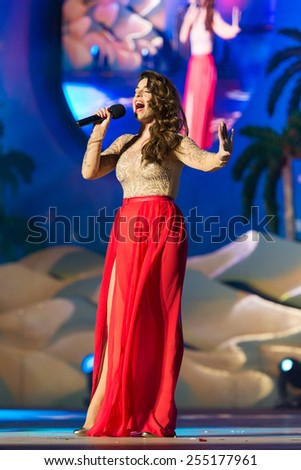 CANARY ISLAND, SPAIN - FEBRUARY 20, 2015: Singer Ruth Lorenzo from Murcia in Spain performing onstage during city of Las Palmas carnival Drag Queen Gala. - stock photo