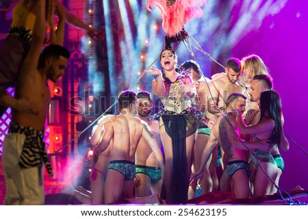 CANARY ISLAND, SPAIN - FEBRUARY 20, 2015: Unidentified artists performing onstage during city of Las Palmas carnival One Thousand and One Nights opening show of Drag Queen Gala. - stock photo