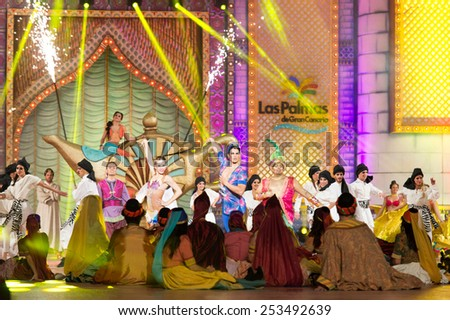 CANARY ISLAND, SPAIN - FEBRUARY 13, 2015: Unidentified dancers and singers performing onstage during city of Las Palmas carnival One Thousand and One Nights opening show of Queens Gala. - stock photo