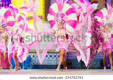 CANARY ISLAND, SPAIN - FEBRUARY 20, 2015: Unidentified dancers performing onstage during city of Las Palmas carnival One Thousand and One Nights opening show of Drag Queen Gala. - stock photo