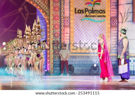 CANARY ISLAND, SPAIN - FEBRUARY 13, 2015: Unidentified girls performing onstage during city of Las Palmas carnival One Thousand and One Nights opening show of Queens Gala. - stock photo